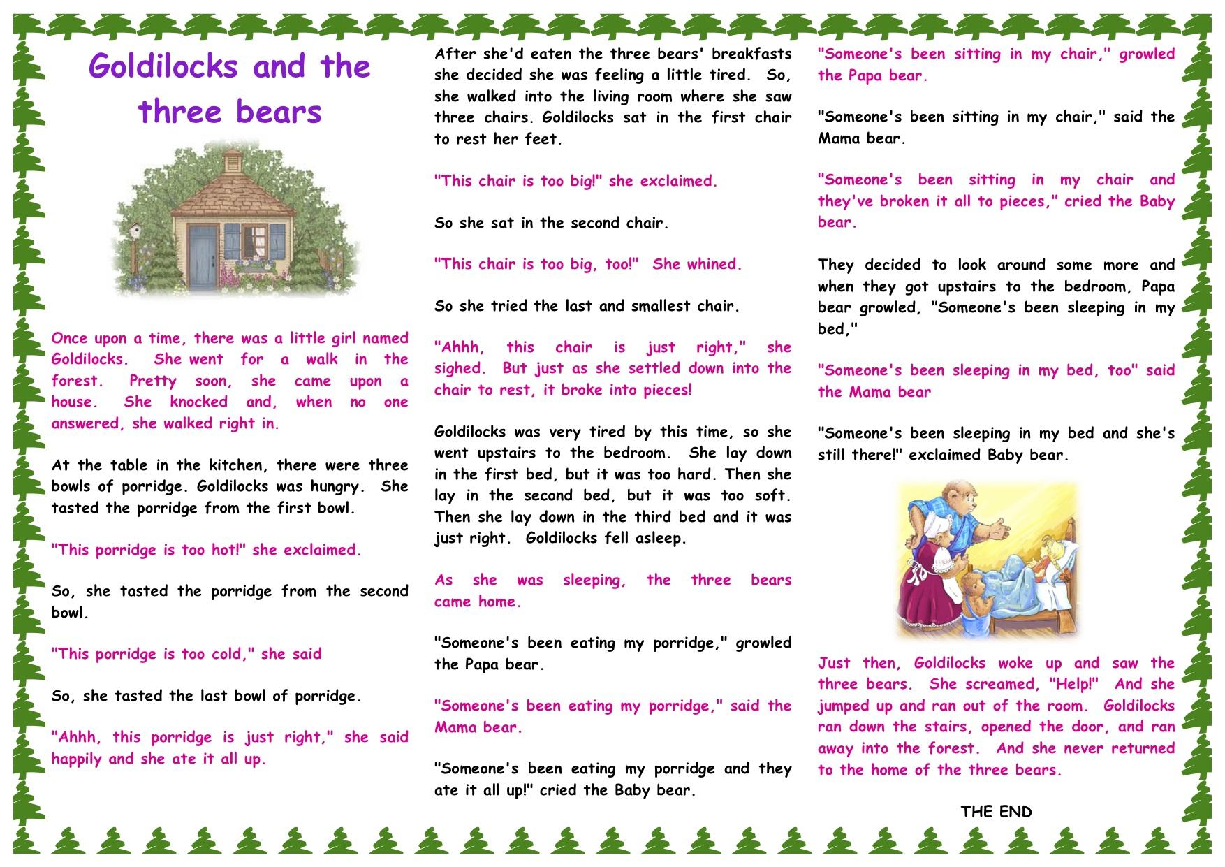 goldilocks and the three bears story pdf