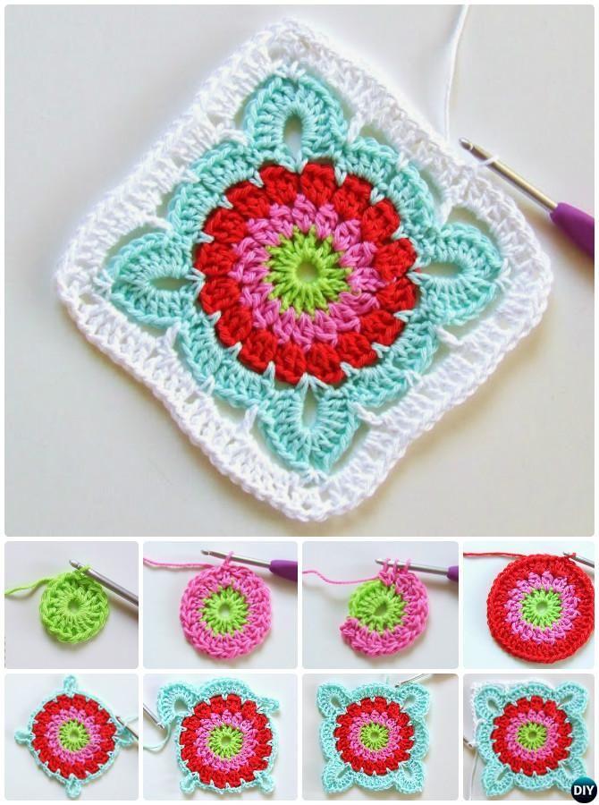 crochet flower granny square instructions