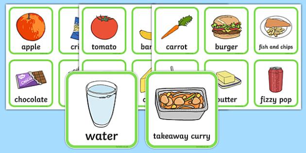 healthy and unhealthy food flashcards pdf