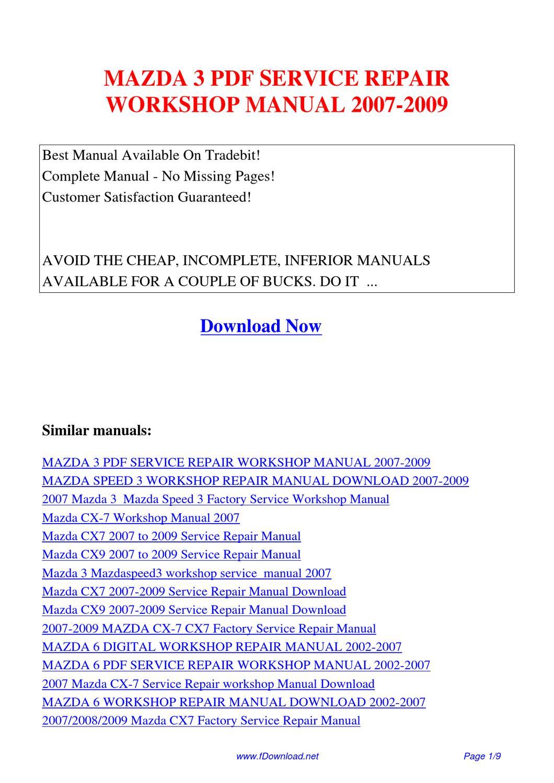 2009 mazda 5 repair manual