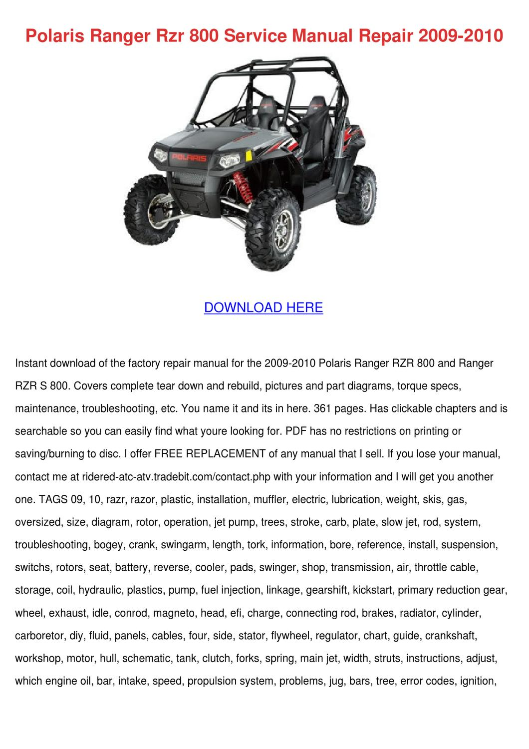 2009 polaris rzr 800 service manual pdf
