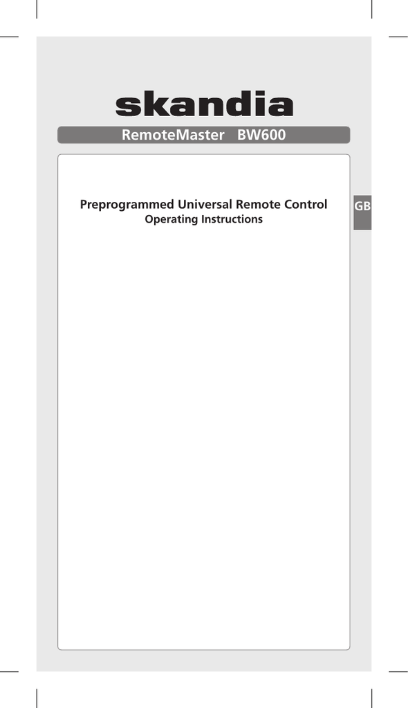 skandia universal remote instructions