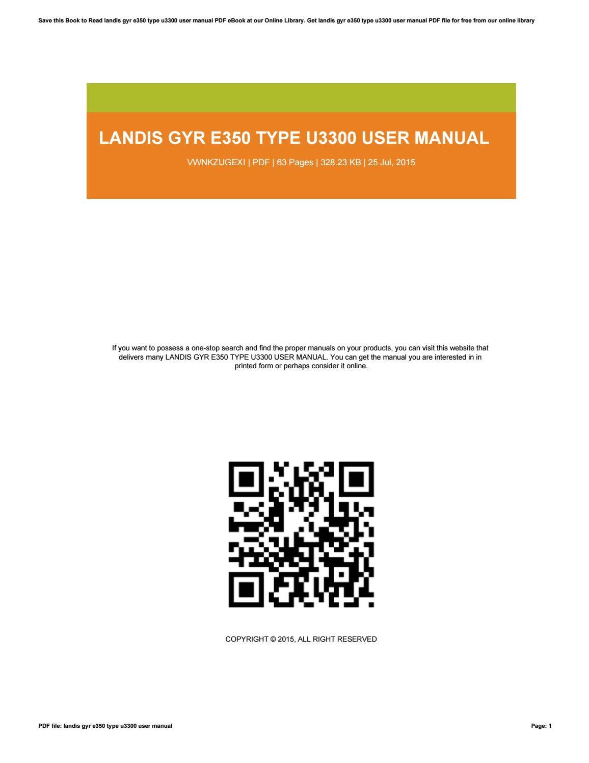 landis gyr e350 u3400 manual