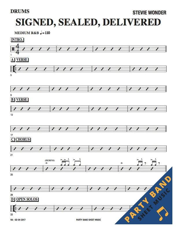 signed sealed delivered drum sheet music pdf free
