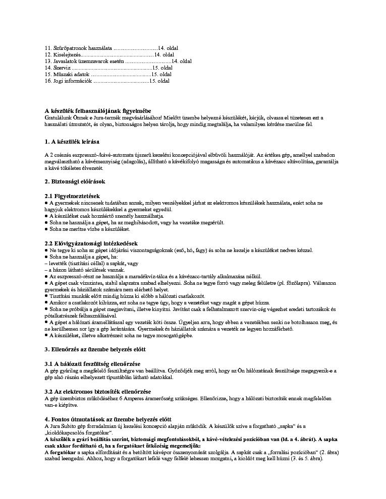 www jura com short operating instructions